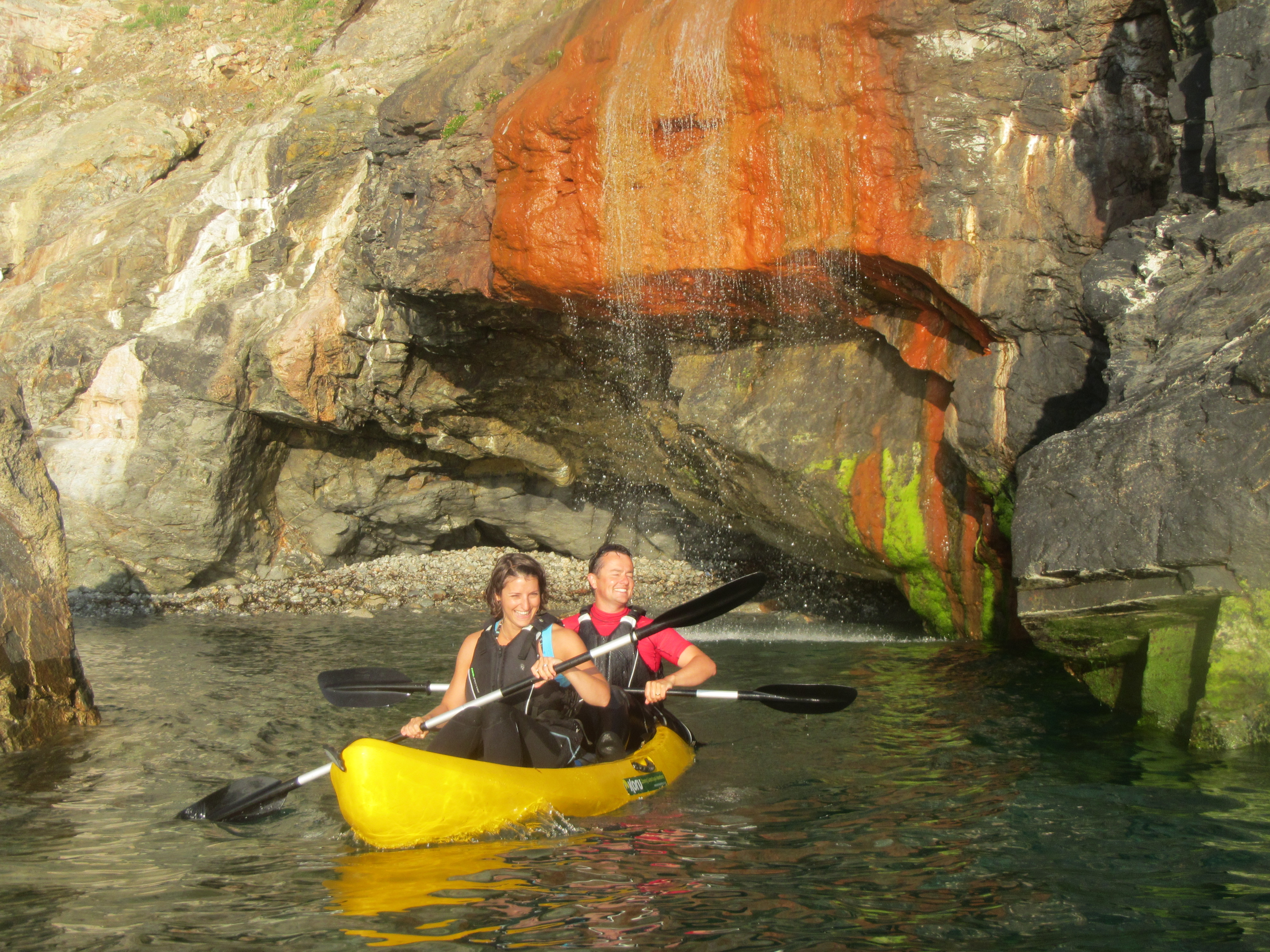 Kayaking under Waterfalls