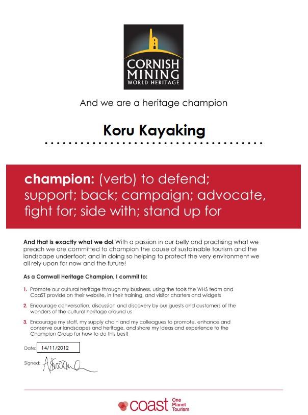 Cornish Mining Ambassador Certificate