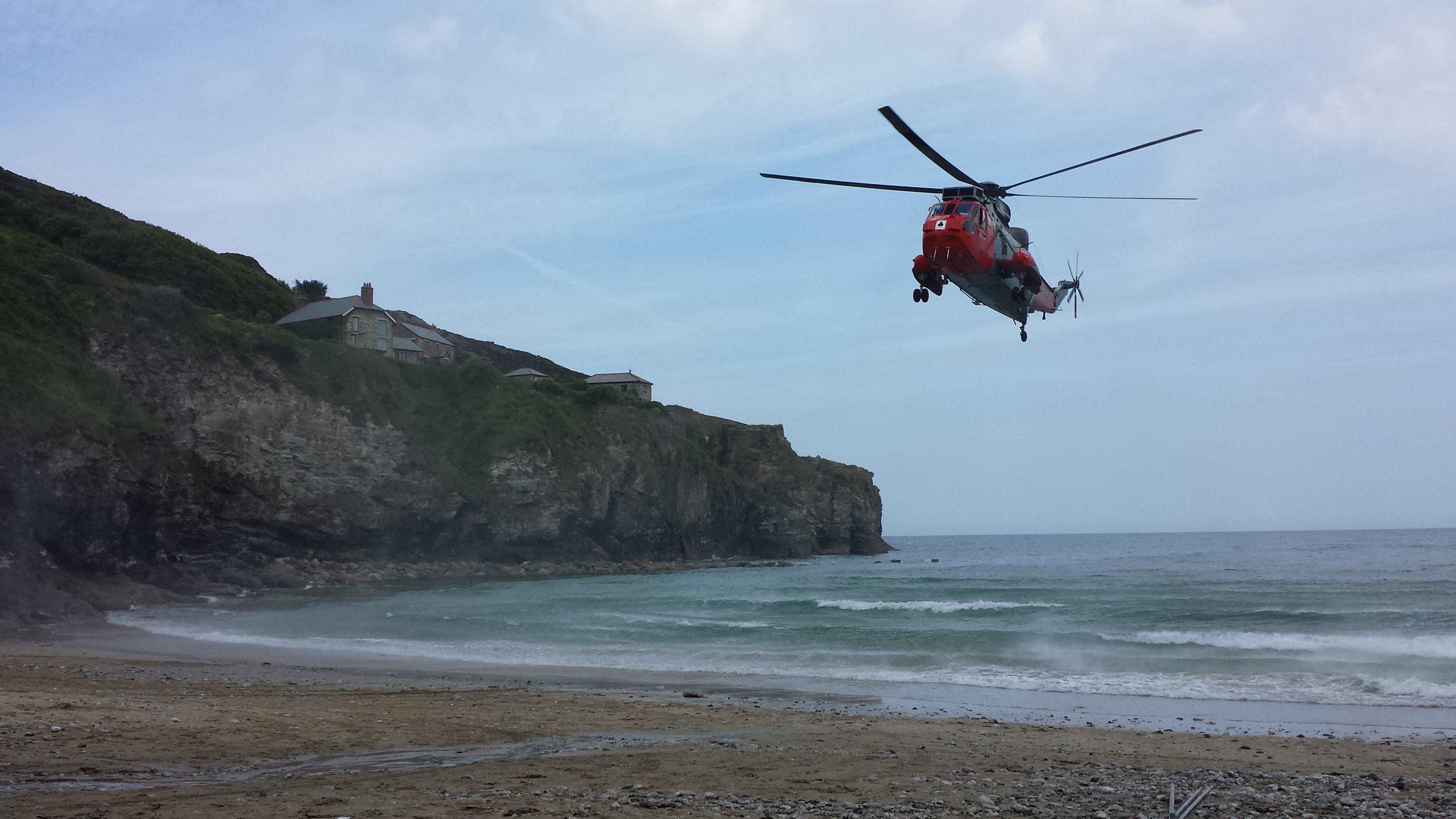 HM Coastguard training at Trevaunance Cove, St Agnes