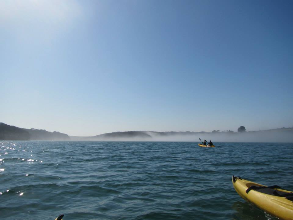 kayaking into the mist, helford river, koru kayaking, frenchmans creek