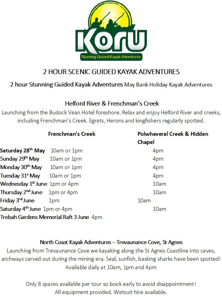 Koru FC kayaking May Bank Hols