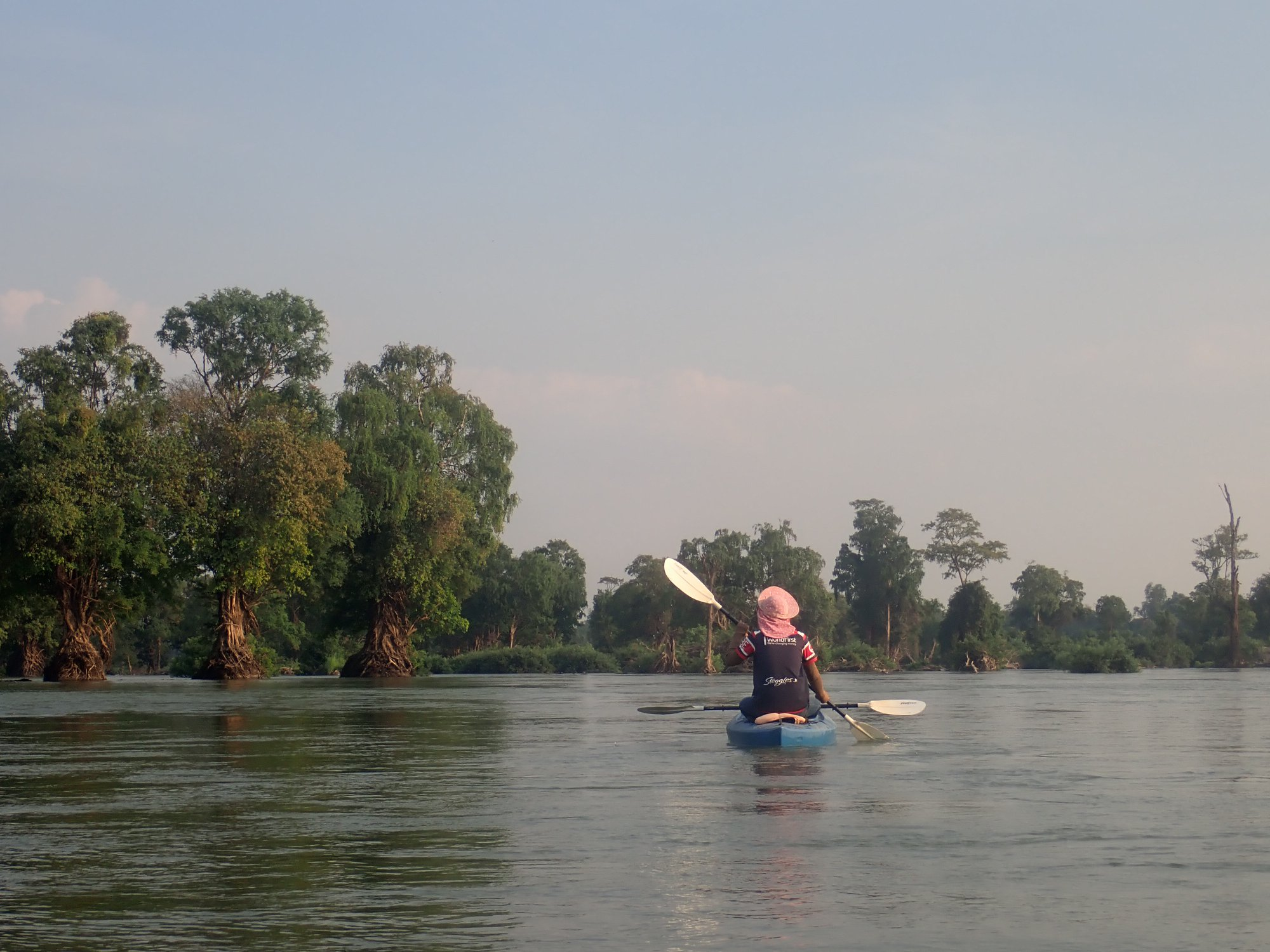 Kayaking on the Mekong River with Irrawaddy Dolphins