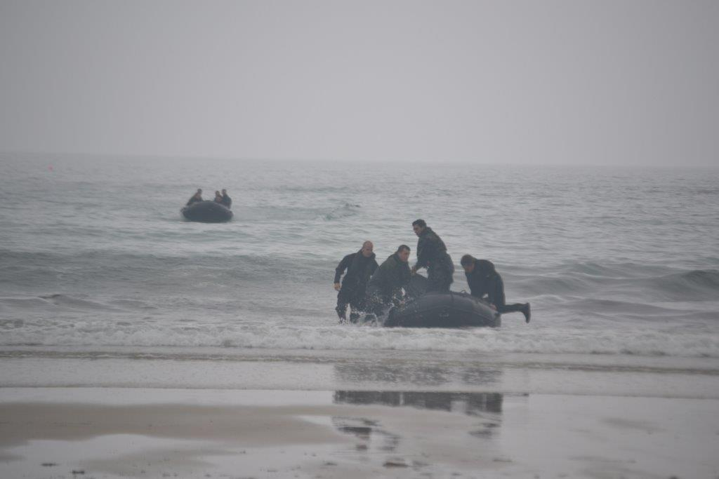 Royal Marines practise exercises from Trevaunance Cove