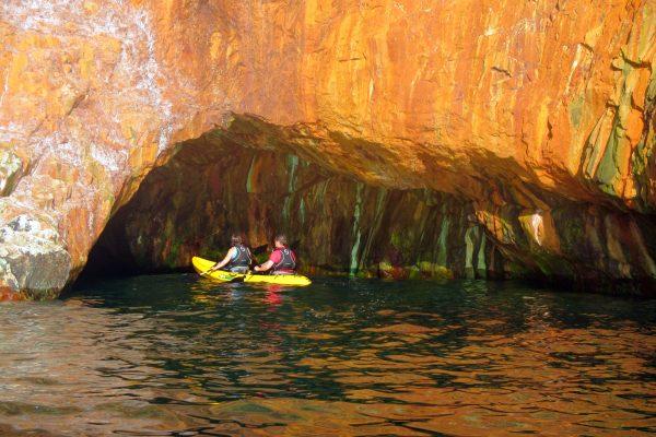 5 May Kayaking into Orange Cave, St Agnes Coastline, Cornwall